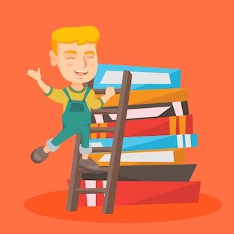 Jongen die op een ladder op de stapel van boeken beklimt.