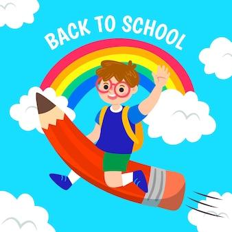 Jongen die op een potlood terug naar schoolconcept vliegt