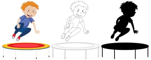 Jongen die op trampoline met zijn omtrek en silhouet springt