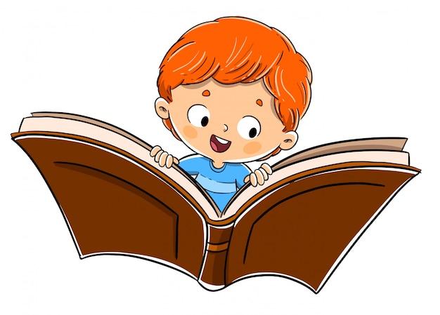 Jongen die over een boek vliegt. verbeelding