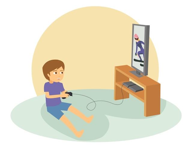 Jongen die spelen op zijn groot vlak televisiescherm speelt