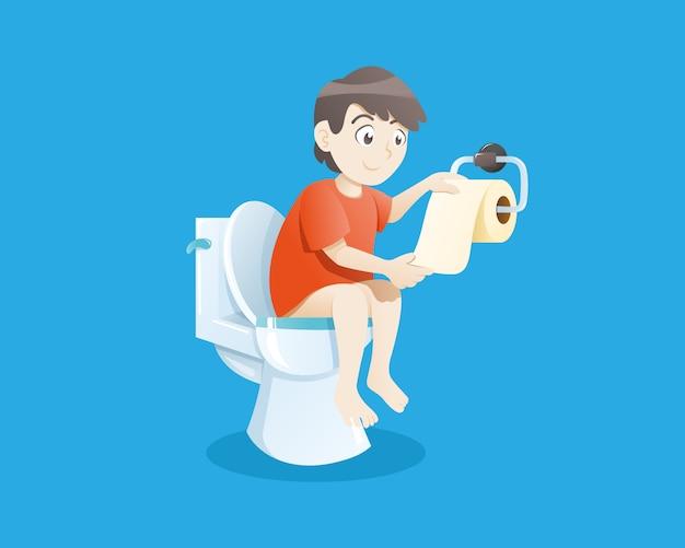 Jongen die toiletpot gebruikt