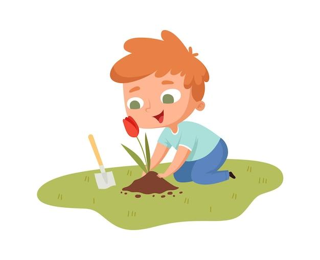 Jongen die tulp plant. jonge kerel met tuingereedschap zorgzame bloem. geïsoleerde cartoon kleine mannelijke tuinieren hobby's vectorillustratie. hobbytuinieren in achtertuin, blij kind