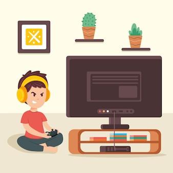 Jongen die videospelletjeillustratie speelt