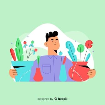 Jongen die voor planten zorgt