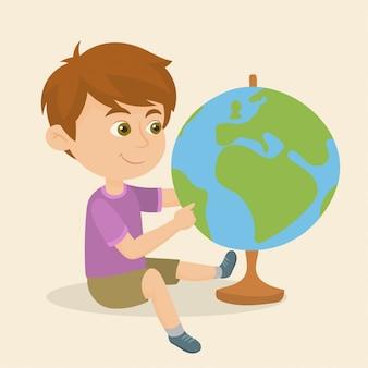Jongen die wijsvinger een geografische locatie richt