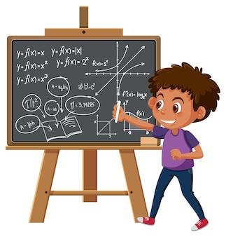 Jongen die wiskundige formule op bord schrijft