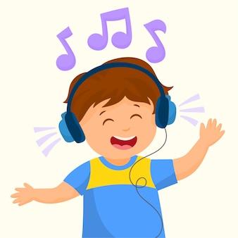 Jongen die zijn favoriete muziek luistert