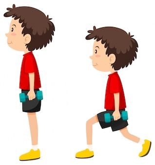 Jongen doet longe oefening