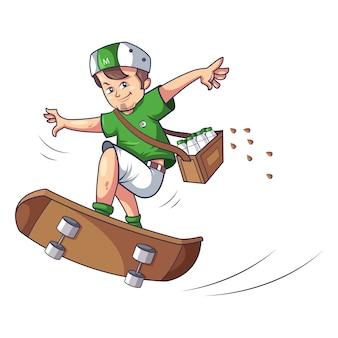 Jongen doet schaatsen vector design