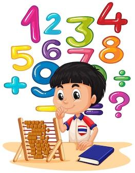 Jongen doet wiskunde met telraam