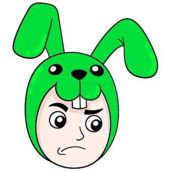 Jongen draagt konijn hoofd kostuum kostuum, vector illustratie karton emoticon. doodle pictogram tekening