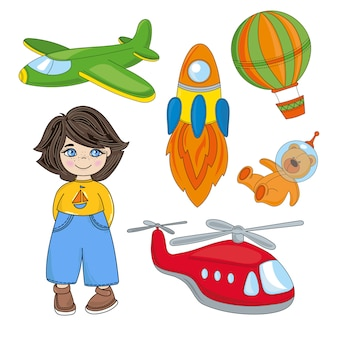 Jongen droom kinderen spel cartoon vector illustratie set