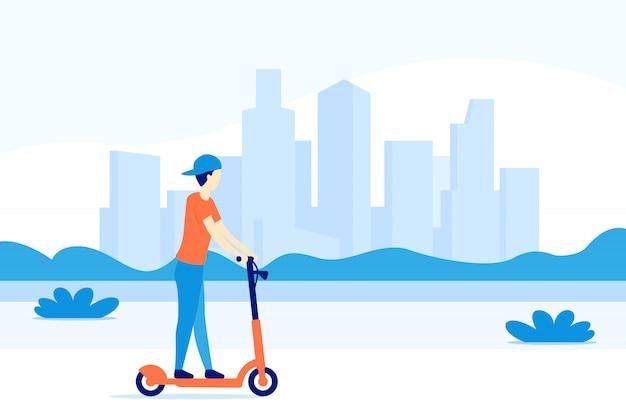 Jongen elektrische kick scooter rijden in de stad,