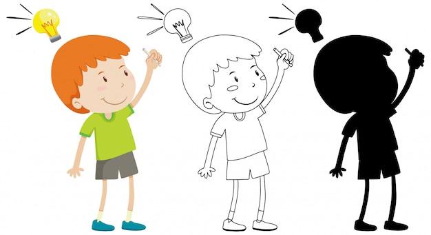 Jongen en denk lamp op kop met zijn omtrek en silhouet