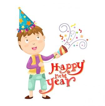 Jongen en gelukkig nieuwjaar vector