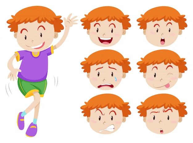 Jongen en gezichtsuitdrukkingen