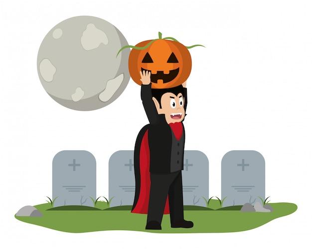 Jongen en halloween cartoon