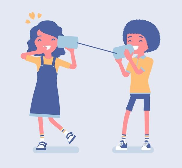 Jongen en meisje die door tinbliktelefoon spreken. twee vrienden spelen in string-telefoon, liefdesuitdrukking voor vriendin, romantisch gesprek, liefdevolle relatie op dating. cartoon vectorillustratie in vlakke stijl