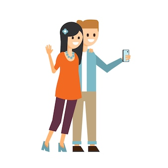 Jongen en meisje die een selfie-illustratie maken