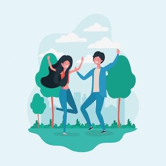 Jongen en meisje die in het park springen