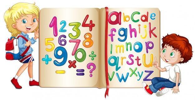 Jongen en meisje door boek van cijfers en alfabetten