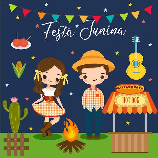 Jongen en meisje en elementen voor festa junina