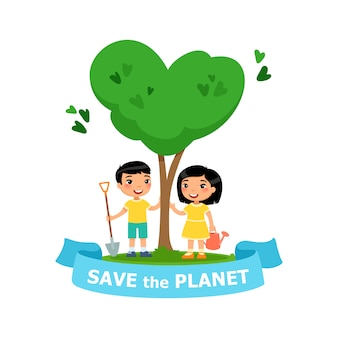 Jongen en meisje hebben een boom geplant