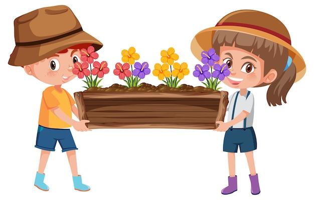 Jongen en meisje houden bloem in pot stripfiguur