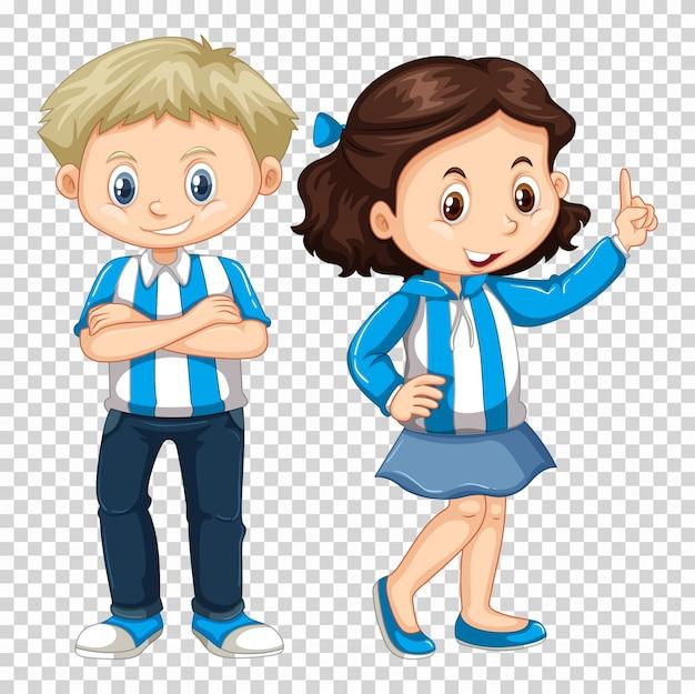 Jongen en meisje in blauw kostuum