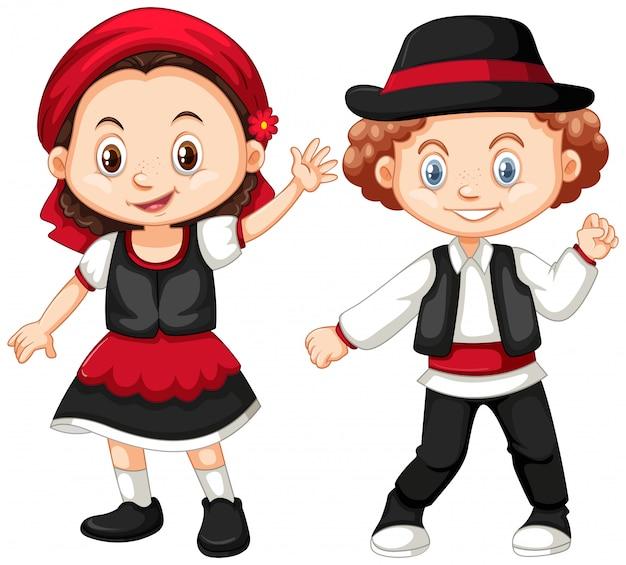 Jongen en meisje in het kostuum van roemenië
