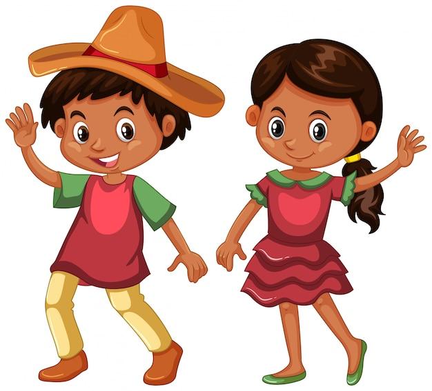 Jongen en meisje in mexico-kostuum
