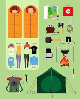 Jongen en meisje in slaapzakken naast tent met kampvuur en rugzak. voorzieningen voor toerisme, recreatie, survival in het wild. vector illustratie