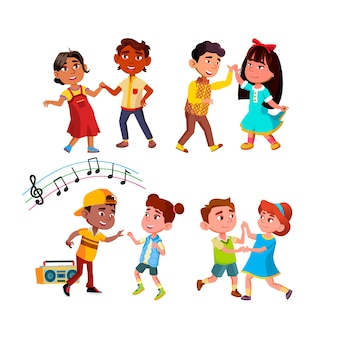Jongen en meisje kinderen dansen samen set. geluk multiraciale kinderen paar dansen ritmische dans.