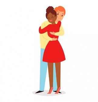 Jongen en meisje knuffelen