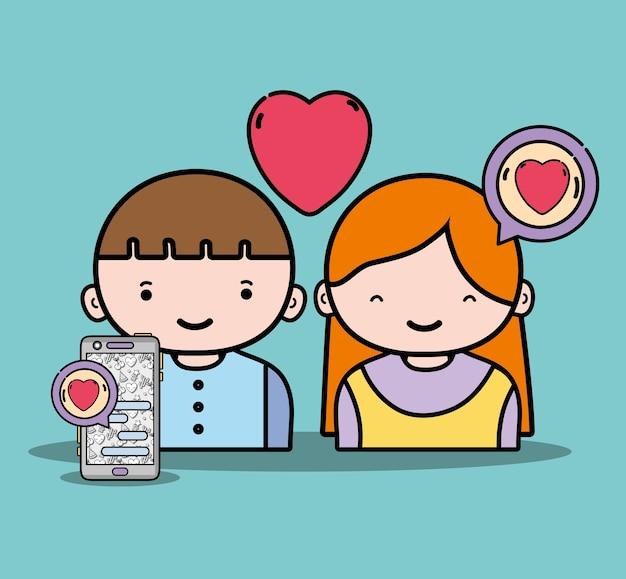 Jongen en meisje liefhebber met chatbericht