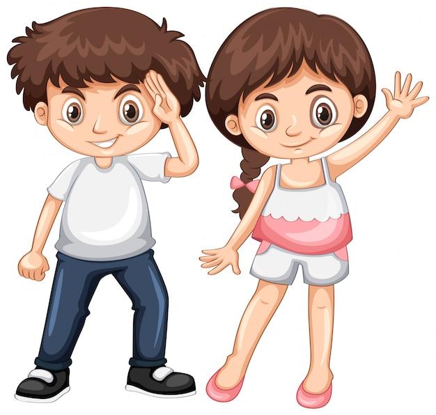 Jongen en meisje met blij gezicht