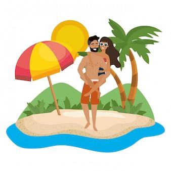 Jongen en meisje met de zomer swimwear