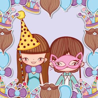 Jongen en meisje met feestkostuum decoratie
