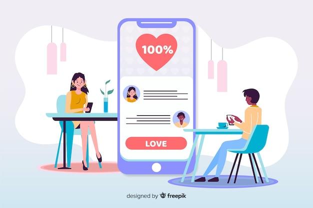 Jongen en meisje met geïllustreerde dating app