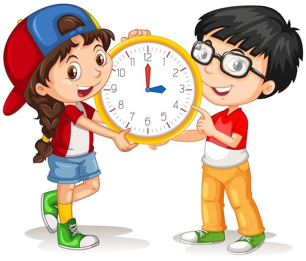 Jongen en meisje met klok
