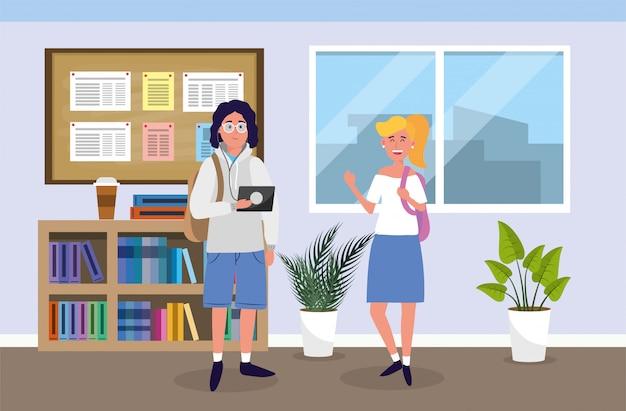 Jongen en meisje met onderwijstablet in het klaslokaal