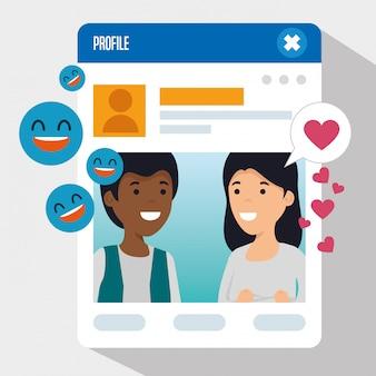 Jongen en meisje met sociaal chatprofiel