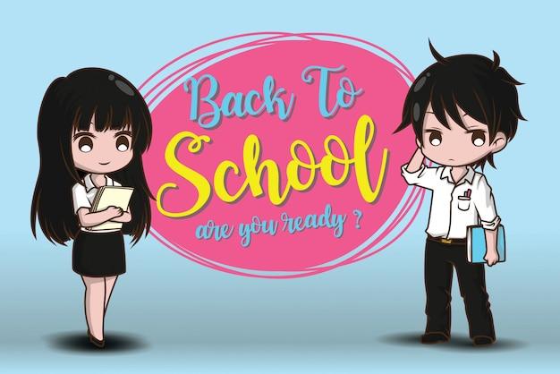 Jongen en meisje op terug naar school. ben je klaar?