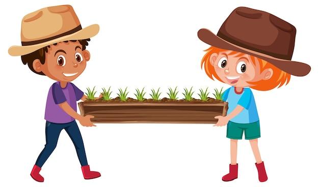 Jongen en meisje planten houden in houten pot stripfiguur