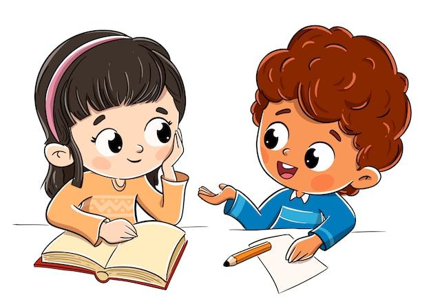 Jongen en meisje praten in de klas praten
