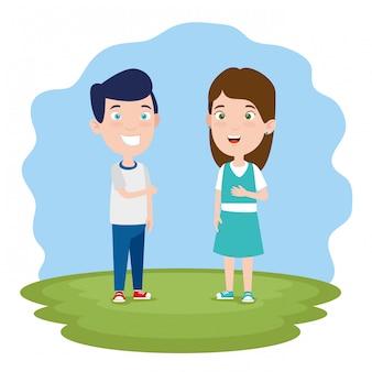 Jongen en meisje praten