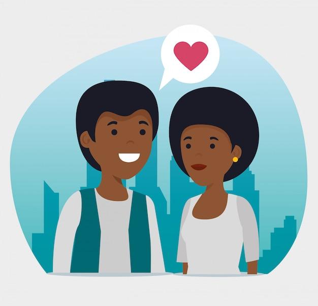 Jongen en meisje relatie sociaal bericht