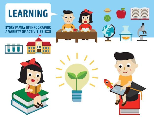 Jongen en meisje samen studeren. infographic elementen. platte cute cartoon ontwerp illustratie.