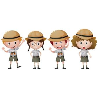 Jongen en meisje scouts ontwerp